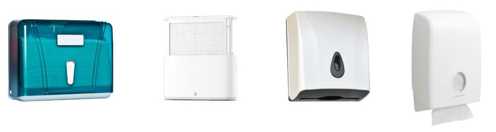 На картинці зображено 4 диспенсера різного зовніщнього вигляду і конструкції
